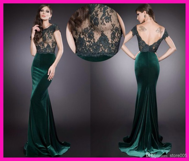 dress green lace velvet long prom prom dress lace dress velvet dress