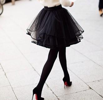 skirt black skirt style heels black heels louboutin tulle skirt jewels