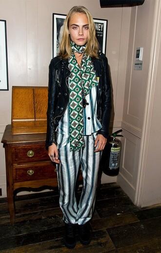 pants london fashion week 2016 stripes cara delevingne fall outfits blouse jacket