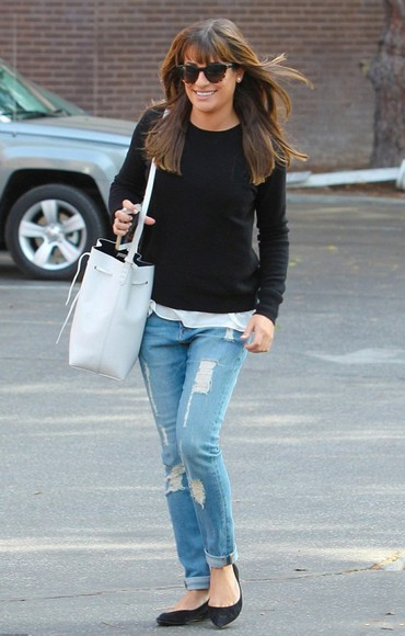 lea michele jeans sweater fall outfits streetstyle