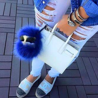 bag summer fashion white blue fluffy denims chanel watch ripped jeans chanel espadrilles espadrilles handbag white bag