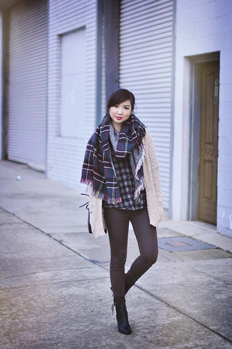 fresh fizzle blogger tartan scarf flannel shirt blanket scarf skinny pants knitted cardigan