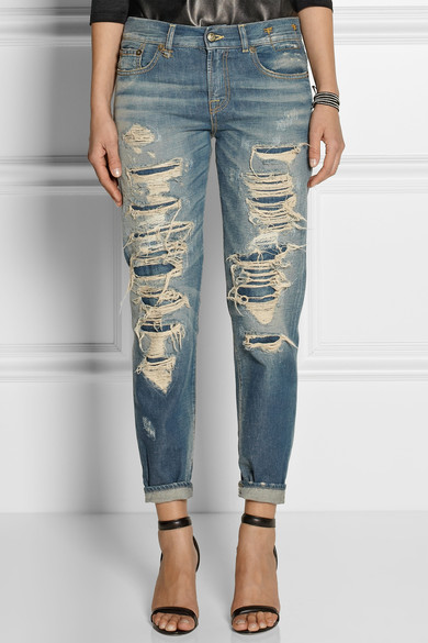 Distressed mid-rise boyfriend jeans | NET-A-PORTER.