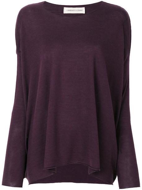 Lamberto Losani sweater women silk wool purple pink
