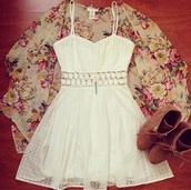 dress,white dress,flowers,summer dress,summer outfits,coat,jacket,socks,cardigan,white,boots,cute,lace,shawl,lace up boots,thin strap,brown,shoes,cute white dress,cute dress,pretty,flowy,floral dress,white lace dress,crochet,lace dress,fashion,floral cardigan,floral,high heels,jewels,flower power,kimono,floral kimono,brown high heels,girly,cut-out,spring,summer,skirt,heels,see through,see through dress,brown heels,kimono style cover up,blouse,white lace center