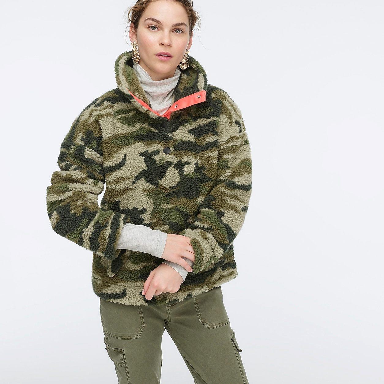 Snap-Collar Sherpa Fleece Sweatshirt In Camo