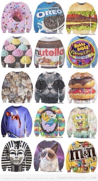 sweater sweatshirt food hamburger cute nutella chocolate printed sweater