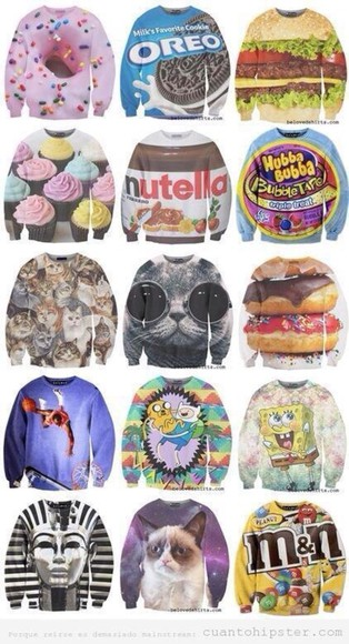 sweater hamburger food sweatshirt cute gimme nutella chocolate