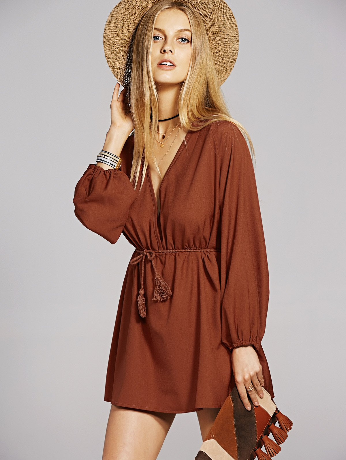 Bohemian Plunging Neck Long Sleeve A-Line Dress For Women