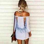 dress,stripes,striped dress,shirt dress,shirt,long shirt,lace up,lace up dress,casual,casual dress,casual shirt,beach,beach dress,long sleeves,long sleeve dress,strappy,strappy dress,mini dress,short dress,cotoon,cotton dress,sky blue,blue,light blue,blue dress,slash neck,slash neck dress,off the shoulder,off the shoulder dress,streetstyle,stretwear,urban,sexy,sexy dress,holidays,holiday season,sea,holiday dress,cute,cute dress,fashion,fashionista,women casual,preppy summer,styel scrapbook,lookbook,american apparel,moraki