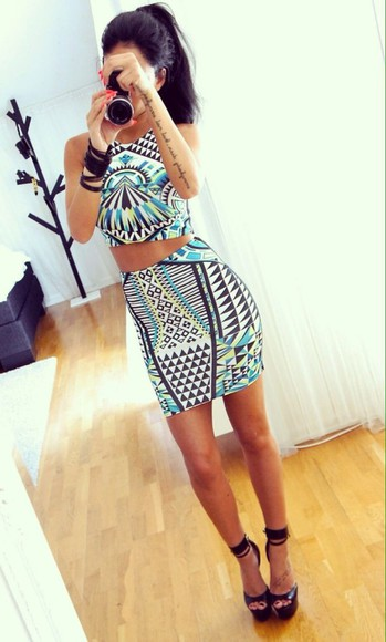 print crop tops pencil skirt top two-piece two piece sets two piece dress set two piece