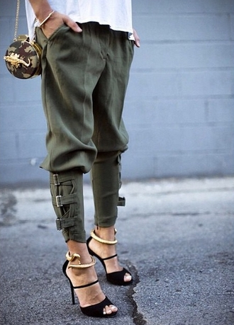 giuseppe zanotti pants bag trousers olive army green pants crocodile clutch snake
