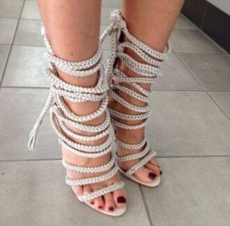 shoes heels white heels rope lace up heels