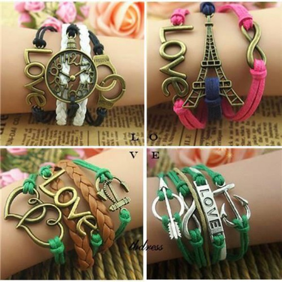 eiffel tower jewels love leather infinity heart arrow birds anchor clock colorsful