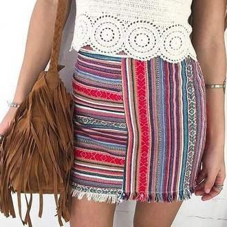 skirt summer aztec indie indian party outfit tumblr tumblr outfit bohemian grunge vintage chanel jacket fringes lace