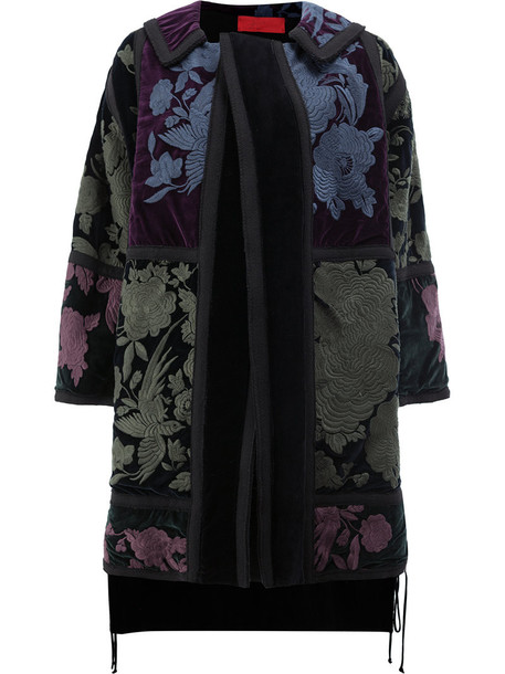 Di Liborio coat embroidered women floral cotton black wool velvet