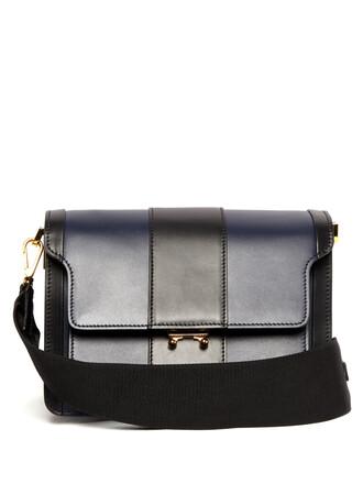 bag shoulder bag leather navy black