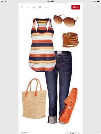 blouse tom stripes tank top blue orange yellow