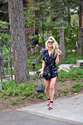 love maegan blogger bag sunglasses shoes romper summer outfits sandals high heel sandals