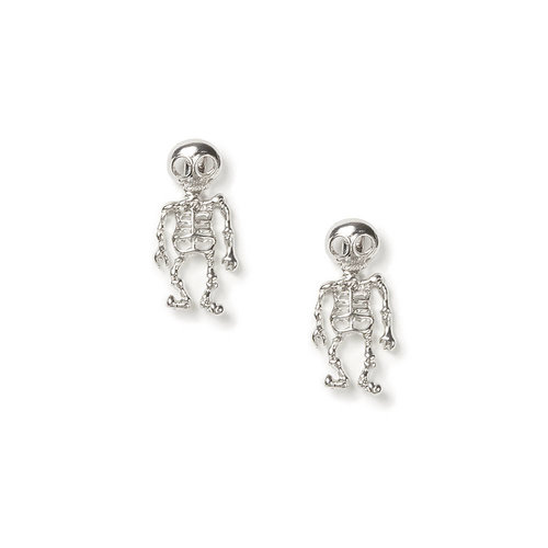 Silver Skeleton Front and Back Earrings