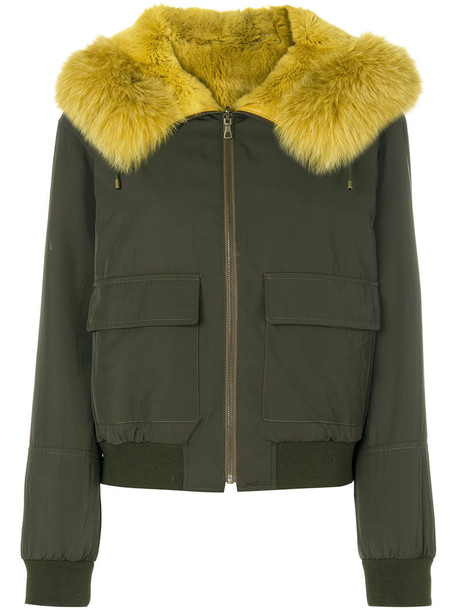 jacket bomber jacket fur fox women spandex green