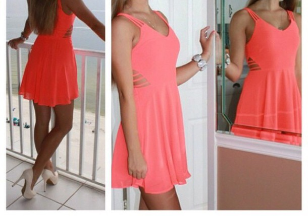 dress giannibinni coral dress pink dress