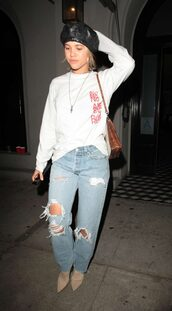 sweater,sweatshirt,jeans,ripped jeans,hat,sofia richie