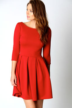 3 4 sleeve red dress pictures
