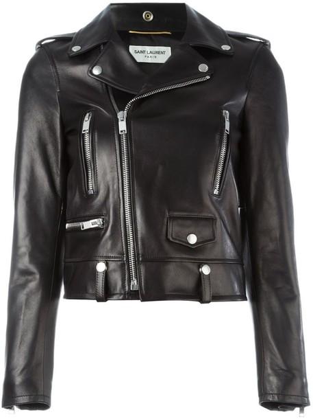 Saint Laurent jacket biker jacket women classic black