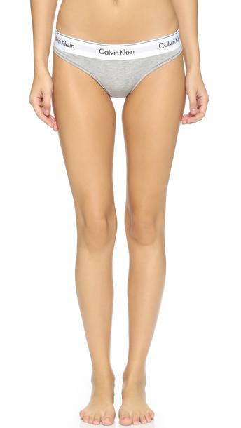 Calvin Klein Underwear Modern Cotton Thong - Heather Grey
