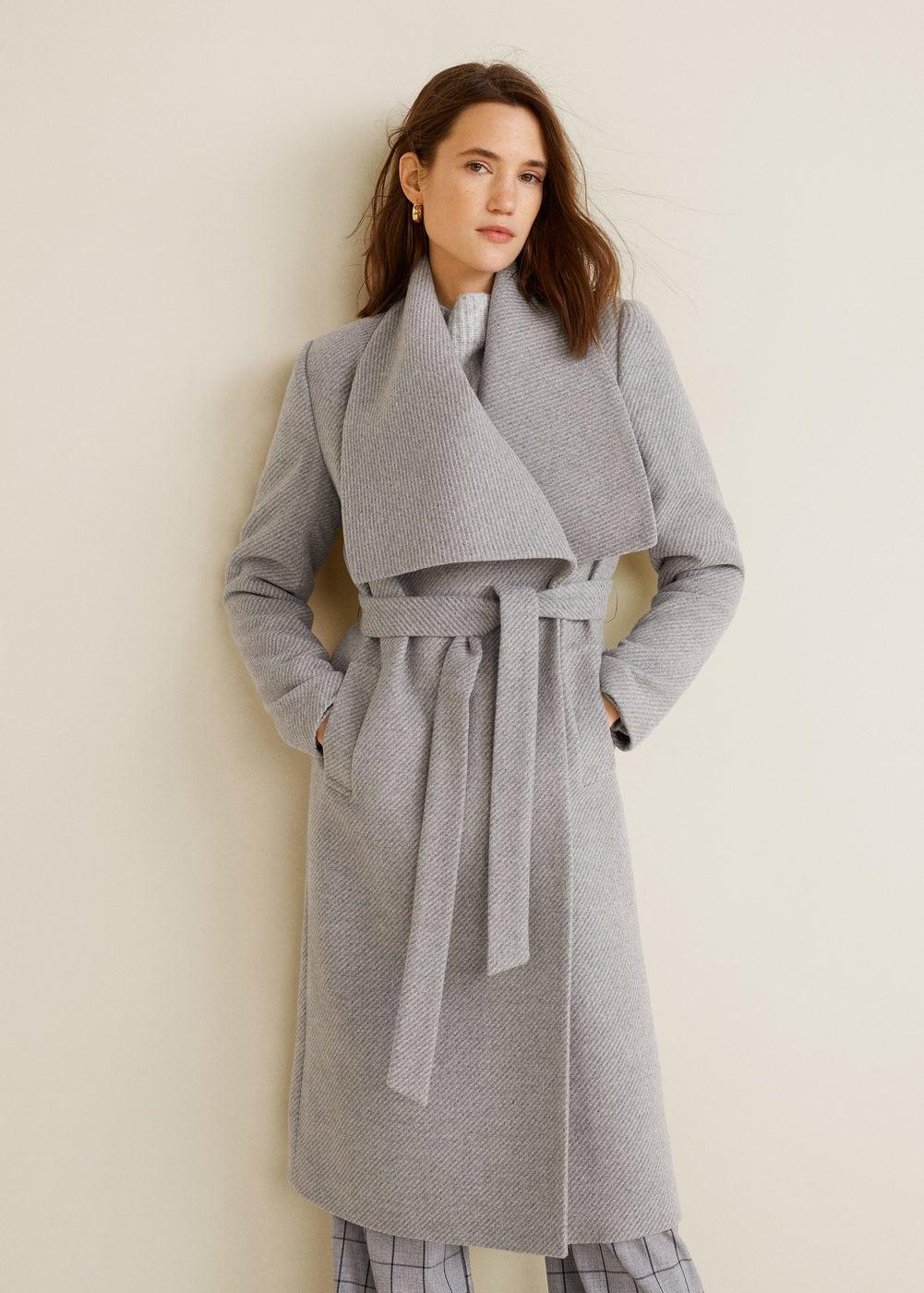 Wide lapel wool-blend coat - Women   Mango USA