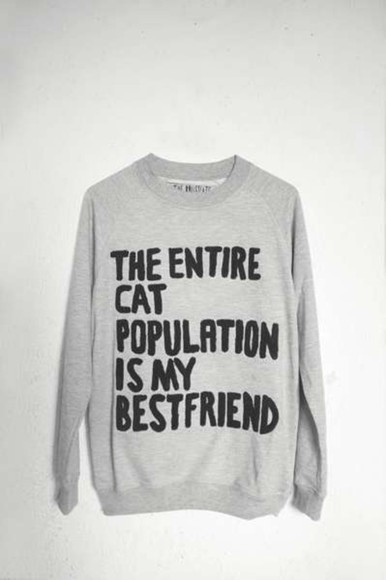 sweater funny cute cat quirky hipster jumper crazy cat lady best friend christmas grey jumper warm slogan jumper winter indie