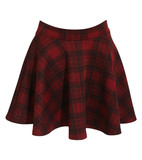 Sonia tartan check print skater skirt in wine red