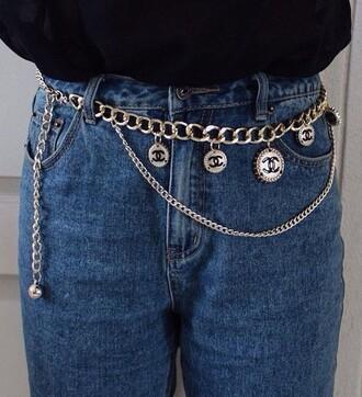 belt chanel chain gold black vintage orgi