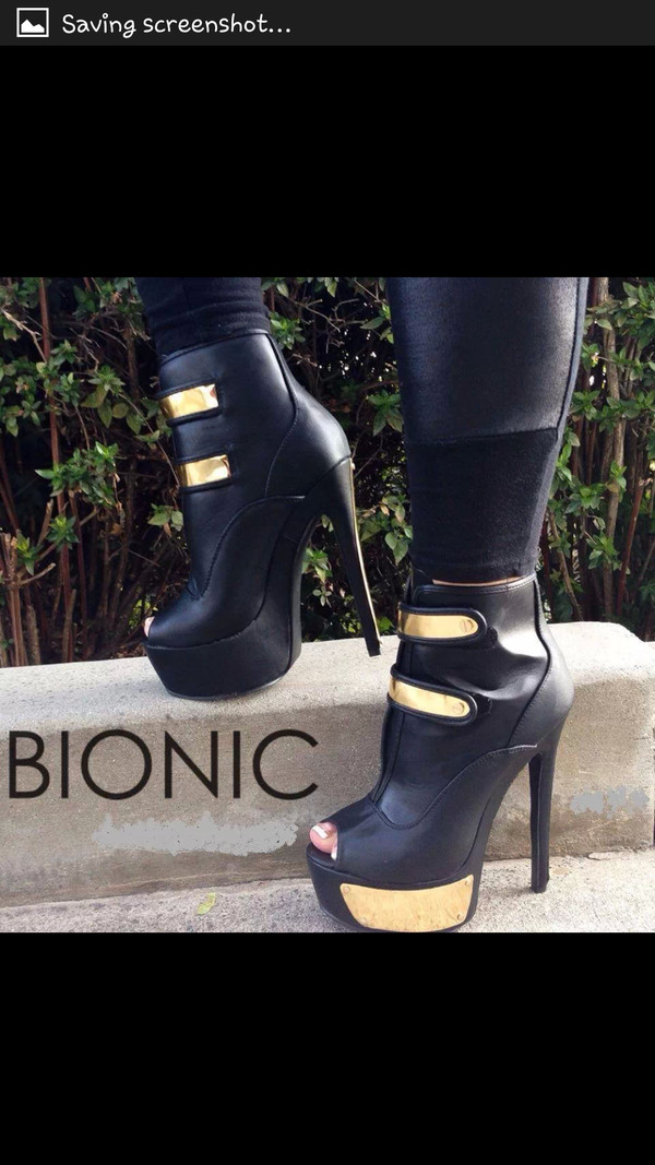 shoes black gold ankle boots
