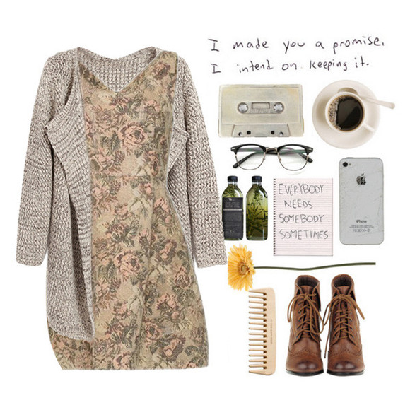 dress floral print dress Choies choies dress knitted cardigan