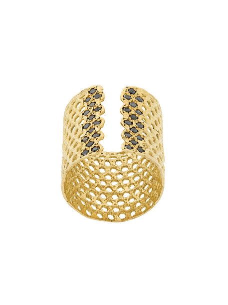 LARA MELCHIOR cuff women ring gold grey metallic jewels