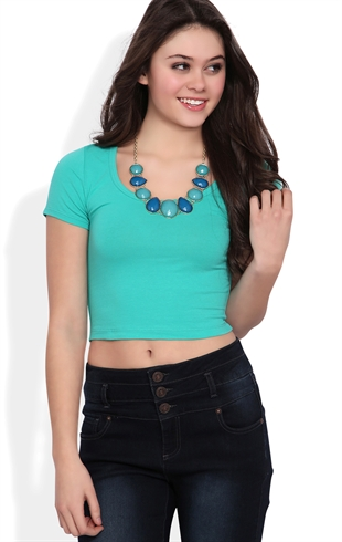 Short Sleeve Basic Crop Top with Scoop Neck Mobile