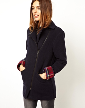 ASOS | ASOS Bonded Check Biker Coat at ASOS