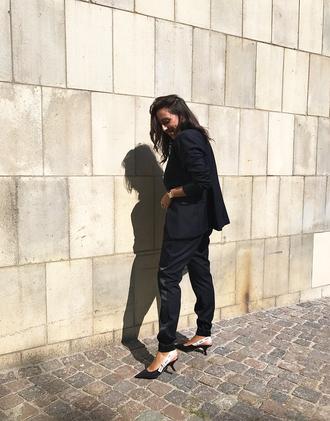 pants tumblr blue pants blazer blue blazer shoes dior slingbacks work outfits office outfits jacket