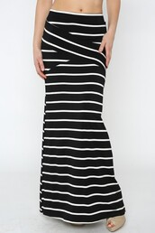 skirt,maxi,stripes,black and white,betsy boo's boutique
