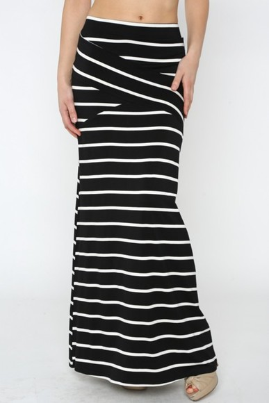 striped skirt maxi black and white betsy boo's boutique