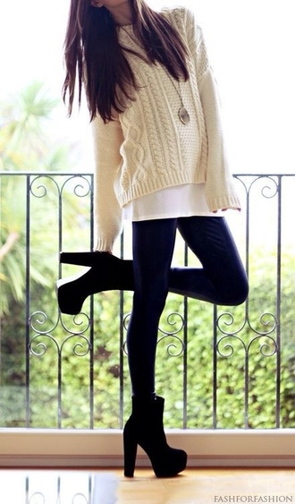 sweater cream knitwear loose fit sweater long sleeves