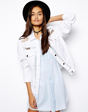 ASOS | ASOS White Denim Jacket with Ladder Insert at ASOS