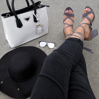 shoes chunky heels heel grey black pants jeans purse sunglasses designer suede sandals gojane