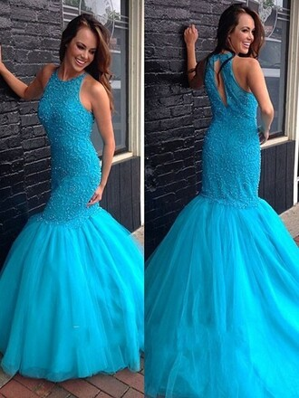 dress blue prom gown elegant fashion style tulle dress trendy classy homecoming dress dressofgirl