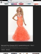 dress,coral dress,mermaid prom dress