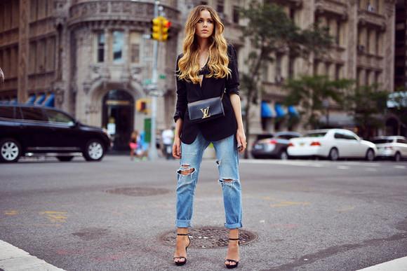 kayture blogger jacket jeans clutch stilettos ripped jeans