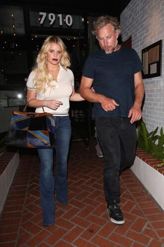 blouse top jeans streetstyle jessica simpson purse bag