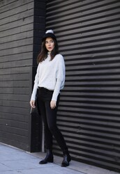 inspades,blogger,hat,sweater,jeans,shoes,bag,fall outfits,pom pom cap,cap,ankle boots,black panties